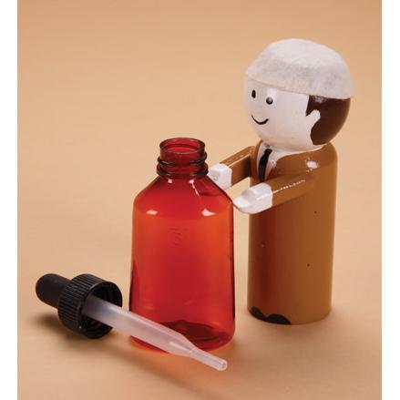 Amber Plastic Dropper Bottle, 1 oz.