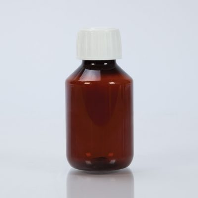 Amber Plastic Bottle with Cap, 100mL