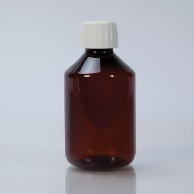 Amber Plastic Bottle With Cap, 200mL