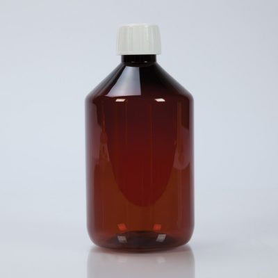 Amber Plastic Bottle With Cap, 500mL