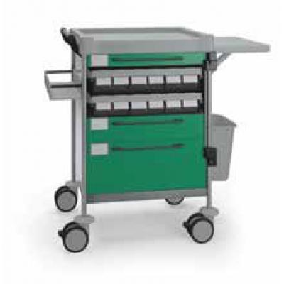 Medication Trolley with 3 drawers and fold down tray