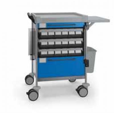 Medication Trolley with glove box holder and fold down tray
