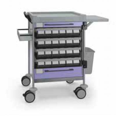 Medication Trolley with 2 drawers and fold down tray