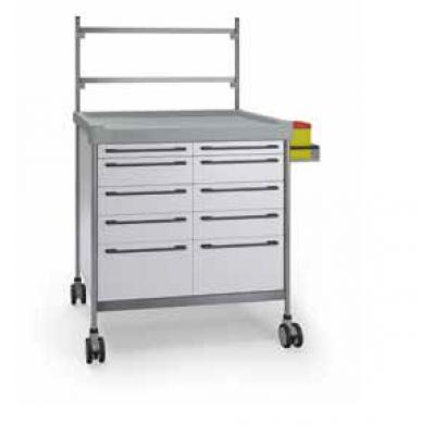 Anaesthesia Trolley - 10 drawers with central rail