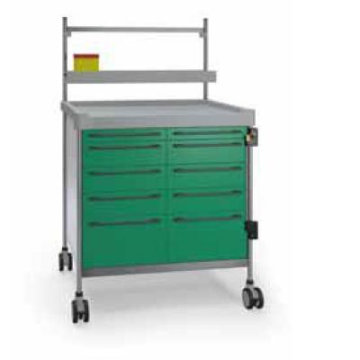 Green Anaesthesia Trolley - 10 drawers 900 x 630mm