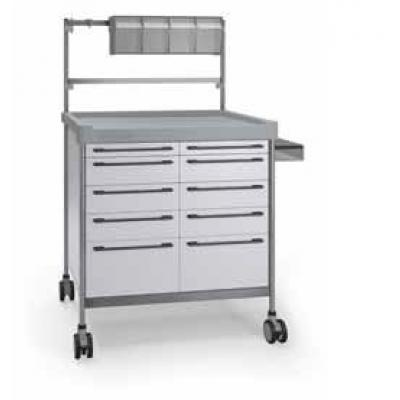 White Anaesthesia Trolley - 10 drawer 900 x 630mm