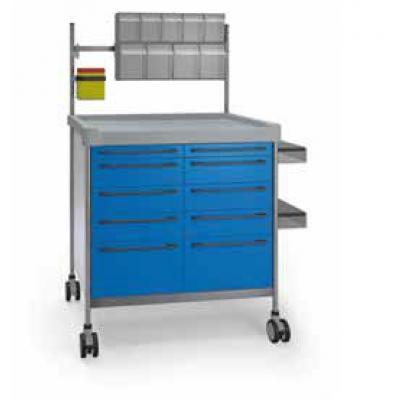 Blue Anaesthesia Trolley with double elevated accessories