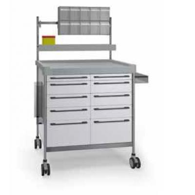 Anaesthesia Trolley with double elevated accessories and side support