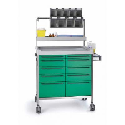 Green Anaesthesia Trolley with side support, fixing rail and elevated accessories