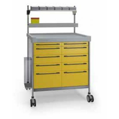 Yellow Anaesthesia Trolley with elevated accessories rail and catheter container