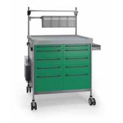Green Anaesthesia Trolley with elevated accessories rail, fixing rail and side support