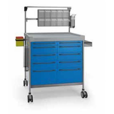 Anaesthesia Trolley - 10 drawers with elevated accessories rail, disposable container support, elevated accessories rail