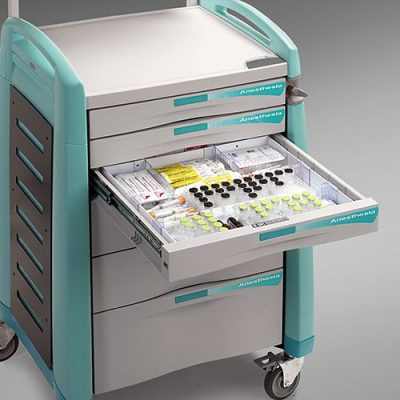 Avalo Anaesthesia Cart with drawer divider tray