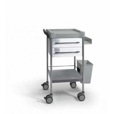 SQ Treatment Trolley with 2 seamless drawers, side support and 13L bin