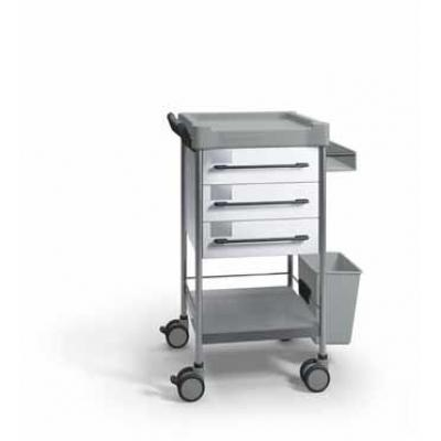 SQ Treatment Trolley with 3 drawer, side support and 13L bin