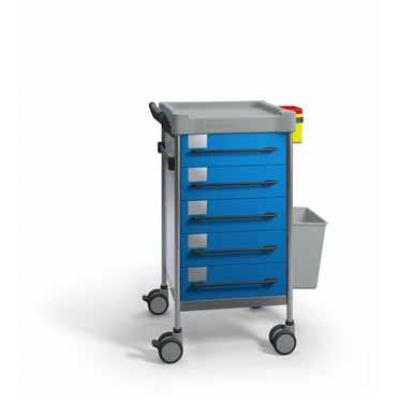 SQ Treatment Trolley with 5 seamless drawers, disposable container support, fixing rail and 13L bin