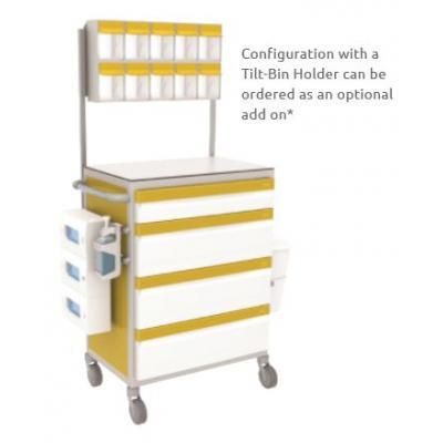 cart with tilt bin holder