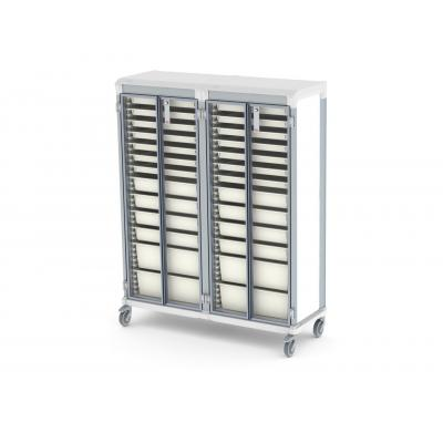 glass door e type double trolley HTM71 medical storage lockable