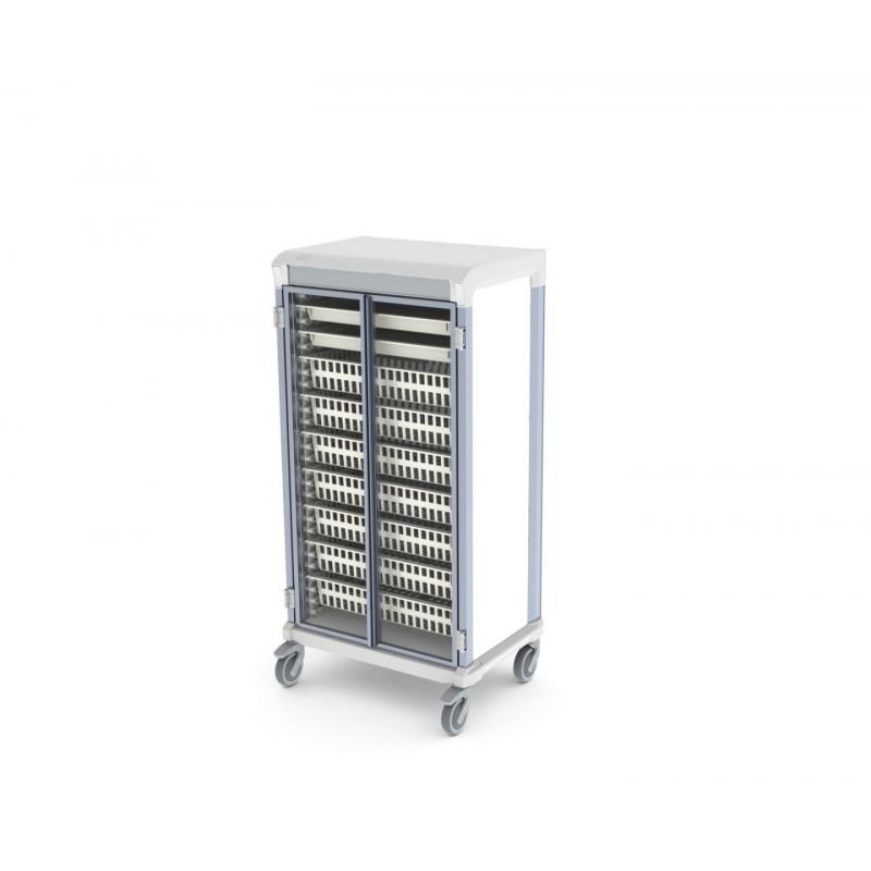 glass door e type single trolley HTM71 medical storage