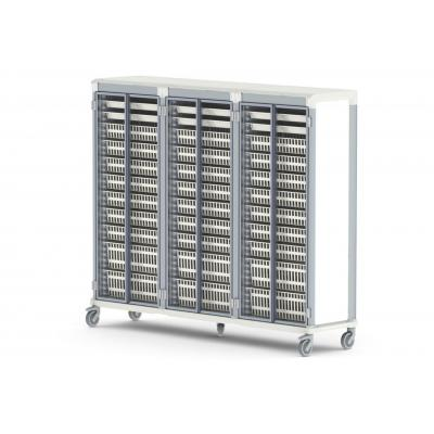 glass door e type triple trolley HTM71 medical storage