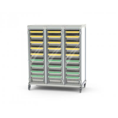 glass door u type triple trolley HTM71 colour coded