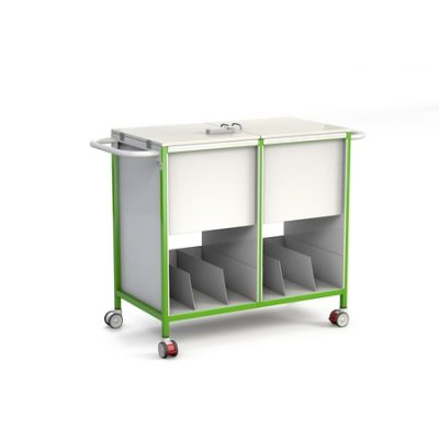 Double Patient Notes Trolley w/ Lockable Lid and Lower Tray