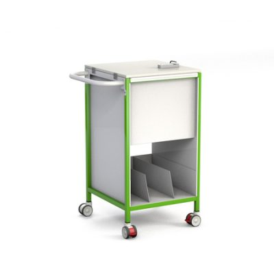 Slimline Patient Notes Trolley with Lockable Lid and Lower Tray