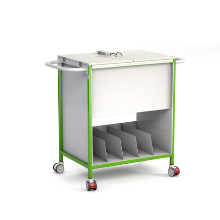 Patient Notes Trolley with Lockable Lid and Lower Tray