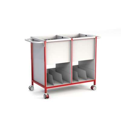 Double Patient Notes Trolley with Lower Tray