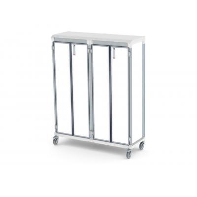 solid door e type double trolley for medical supplies storage lockable
