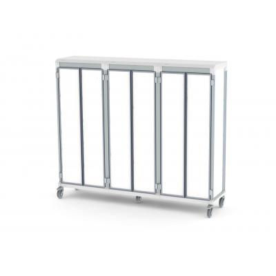 solid door e type triple trolley for medical supplies storage lockable