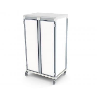 solid door u type double trolley for medical supply storage