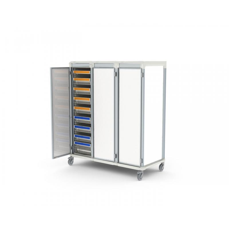 solid door u type triple trolley for medical supply storage
