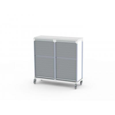 tambour door e type double trolley for medical supplies storage