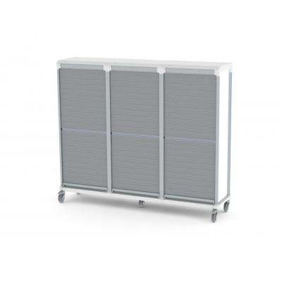 tambour door e type triple trolley for medical supplies storage