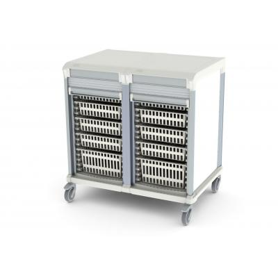tambour door u type double trolley HTM71 storage for medical supplies