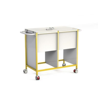 Double Patient Notes Trolley with Lockable Lid